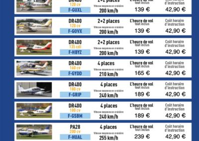 Tarifs horaires des avions et instructions